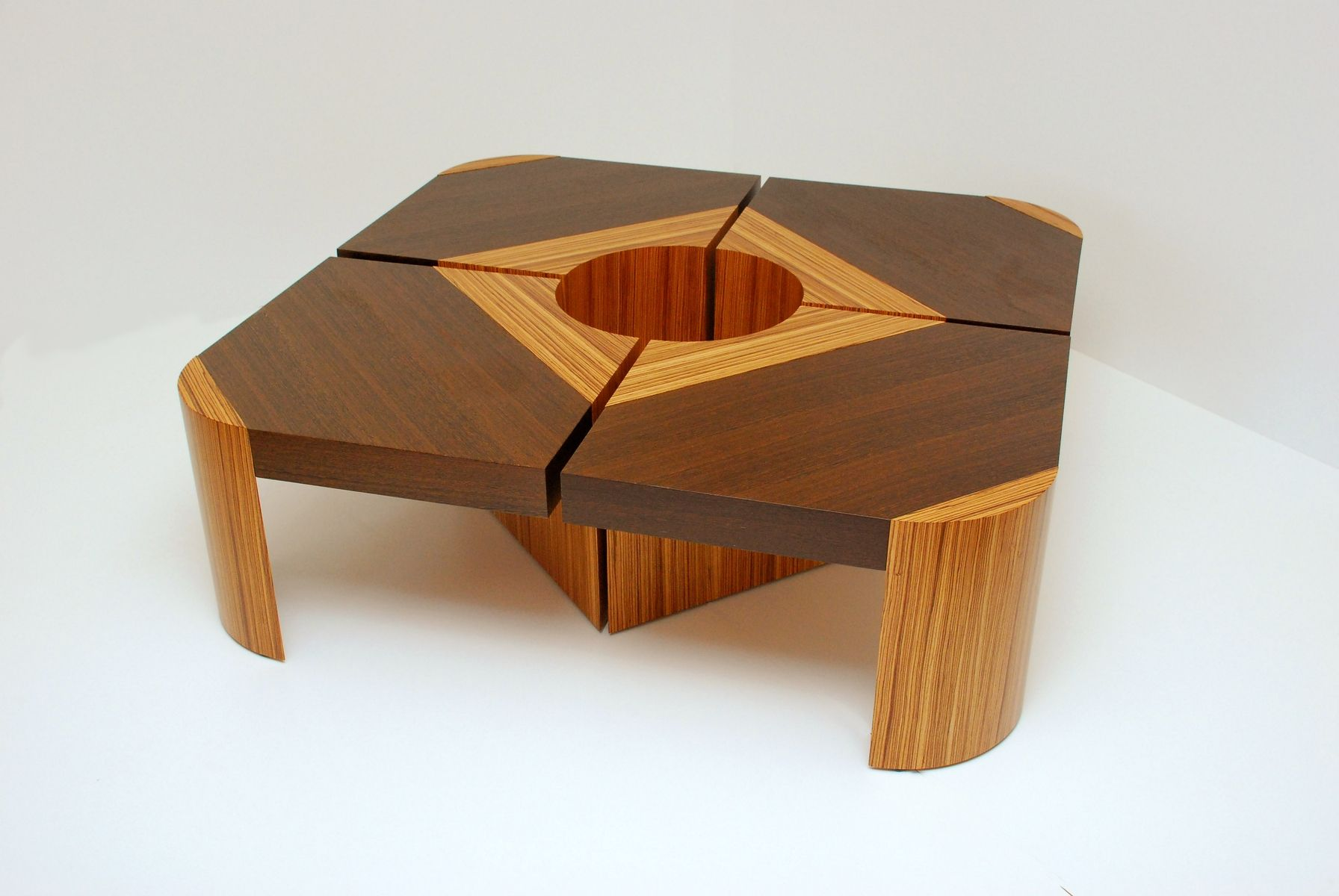 Handmade Bloom Table Set  WengeZebra Wood by Furniture
