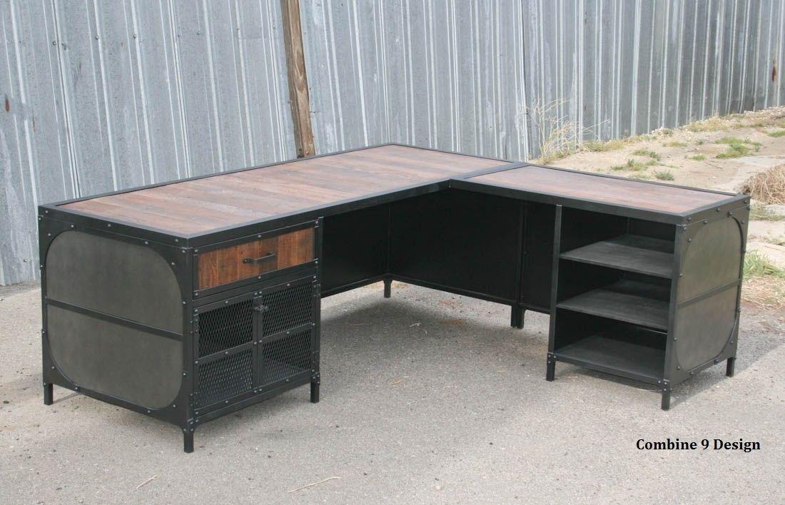 Buy a Hand Crafted Vintage Industrial Desk WReturn