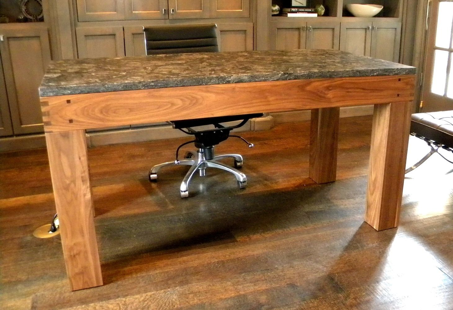 Hand Made Walnut Parsons Style Desk With Granite Top by