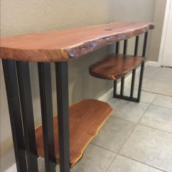 Sofa Console Tables Wood 300 Dollars Reclaimed Entry Hall And Accent Table Entryway Live Edge Furniture Mesquite Steel Base