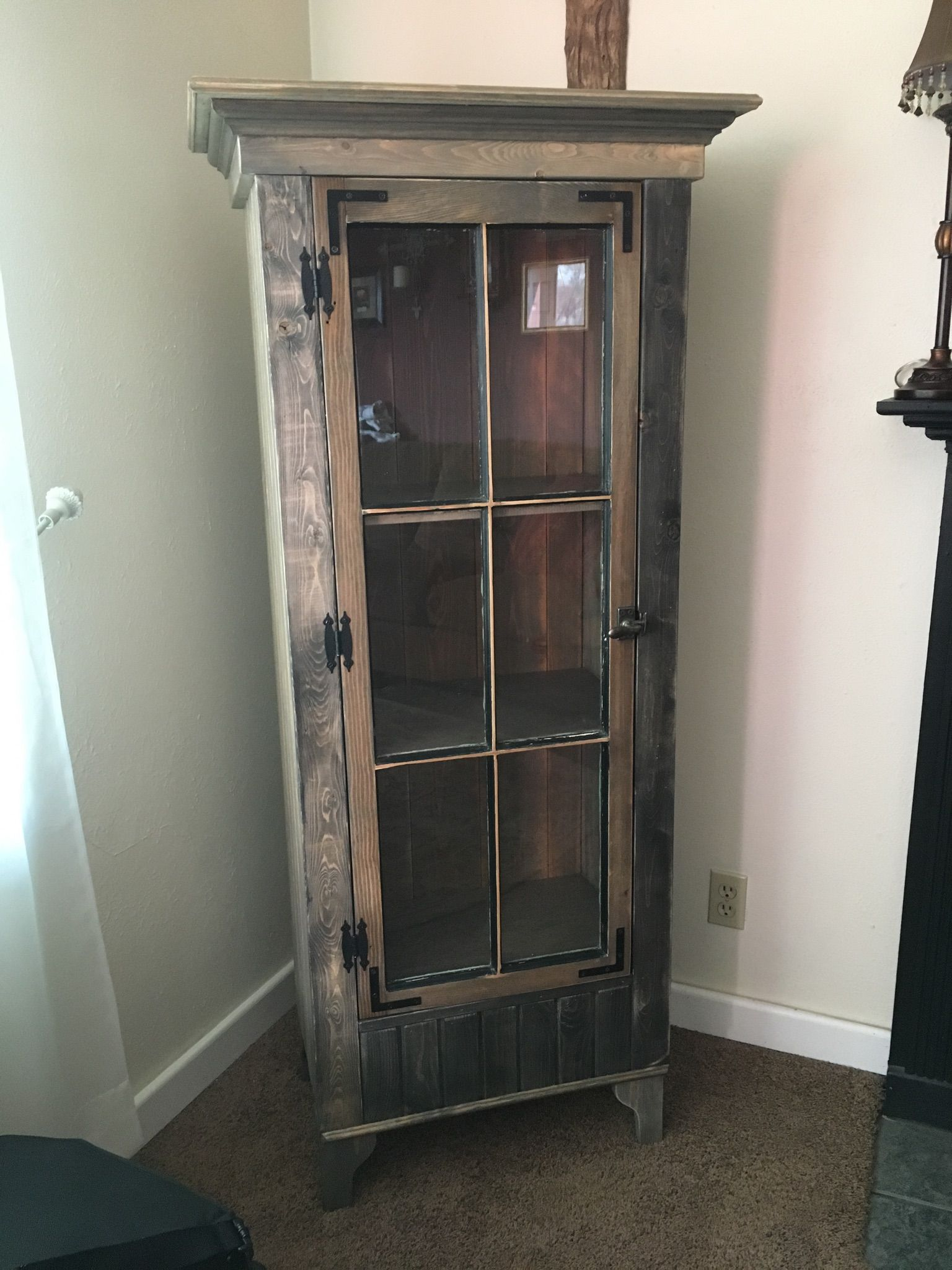 Buy a Custom Rustic Curio Cabinet With Reclaimed Antique