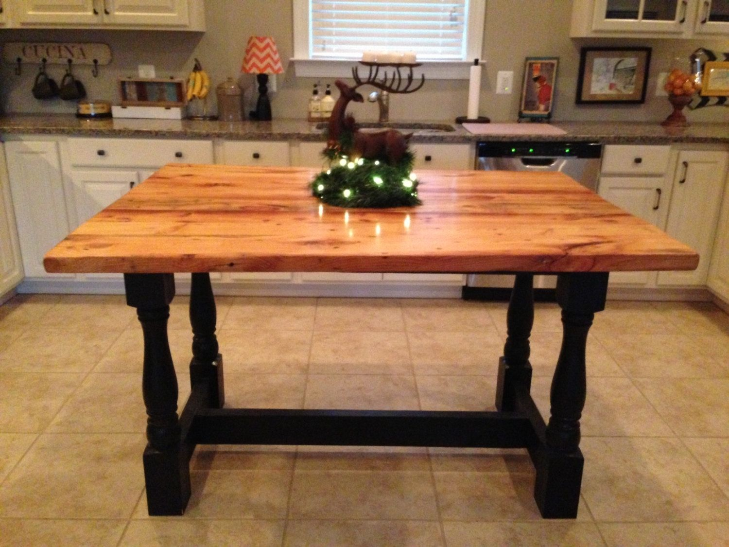 Buy A Hand Crafted Harvest Style Kitchen Island Made From Reclaimed Hardwood With Turned Legs