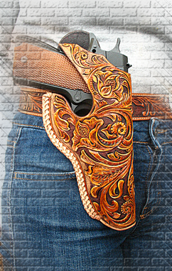Buy a Hand Made Tooled Leather Holster 1911 Floral