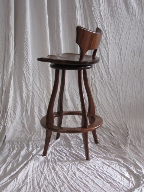 Hand Made Black Walnut Bar Stool With Swivel And Back by