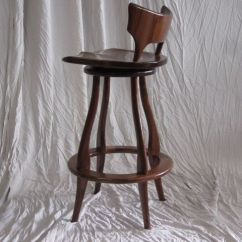 Kitchen Stools With Back Track Lighting Fixtures Hand Made Black Walnut Bar Stool Swivel And By ...