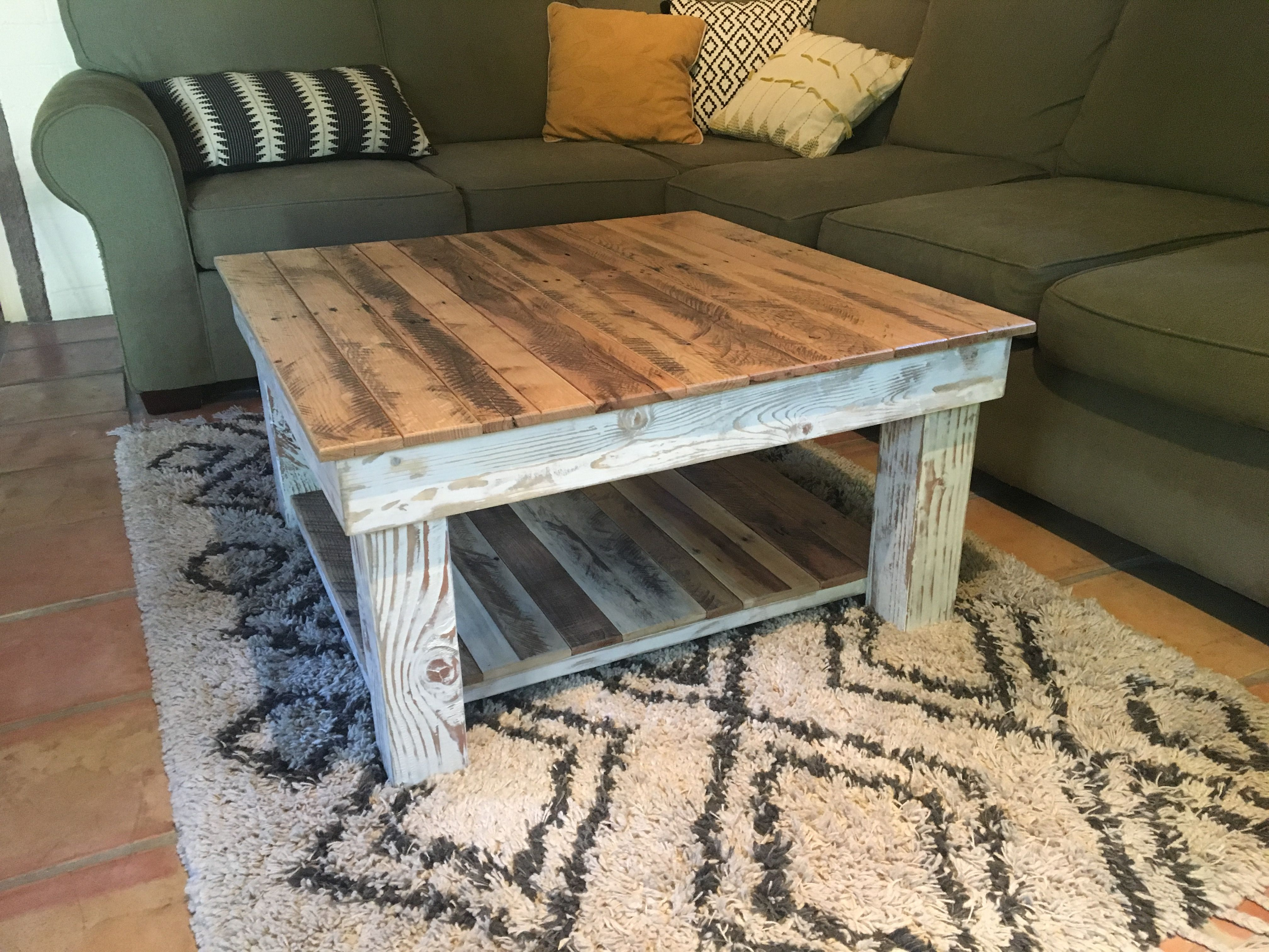 reclaimed wood rustic coffee table