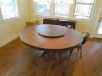 """Buy a Hand Made White Oak 72"""" Round Dining Table With Lazy ..."""
