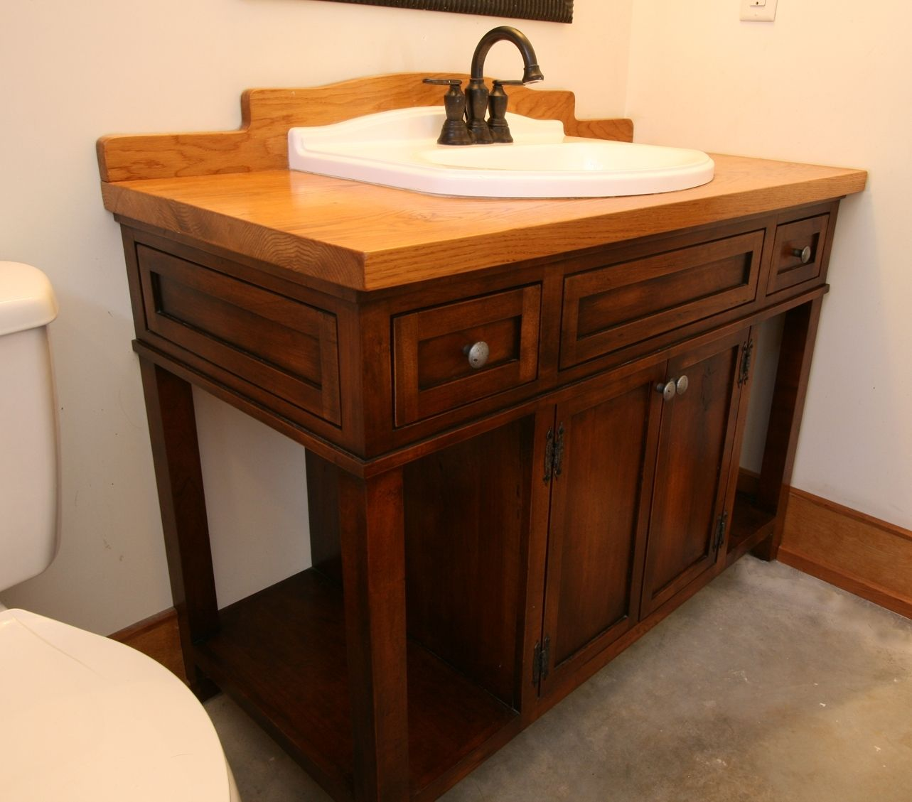 Hand Crafted Custom Wood Bath Vanity With Reclaimed Sink by MOSS Farm Designs  CustomMadecom