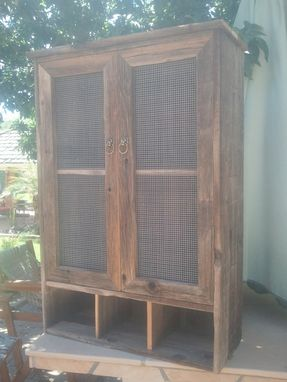 Hand Crafted Barnwood Liquor Storage Cabinet By