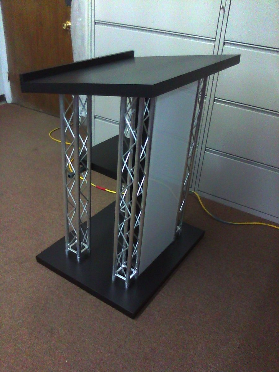Hand Crafted Custom Black Podium With Led Light Box By