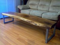 Hand Made Live Edge Black Walnut Coffee Table With Square ...