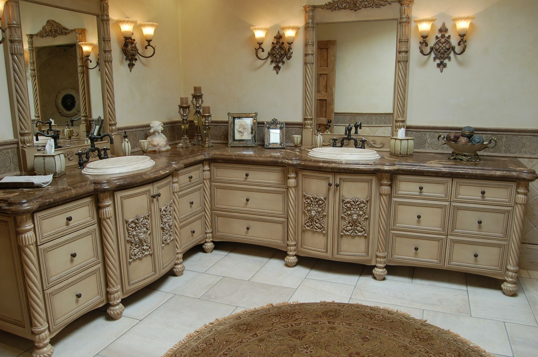Handmade Custom Faux Finish Master Bathroom Cabinets by Westend Custom Cabinets  CustomMadecom