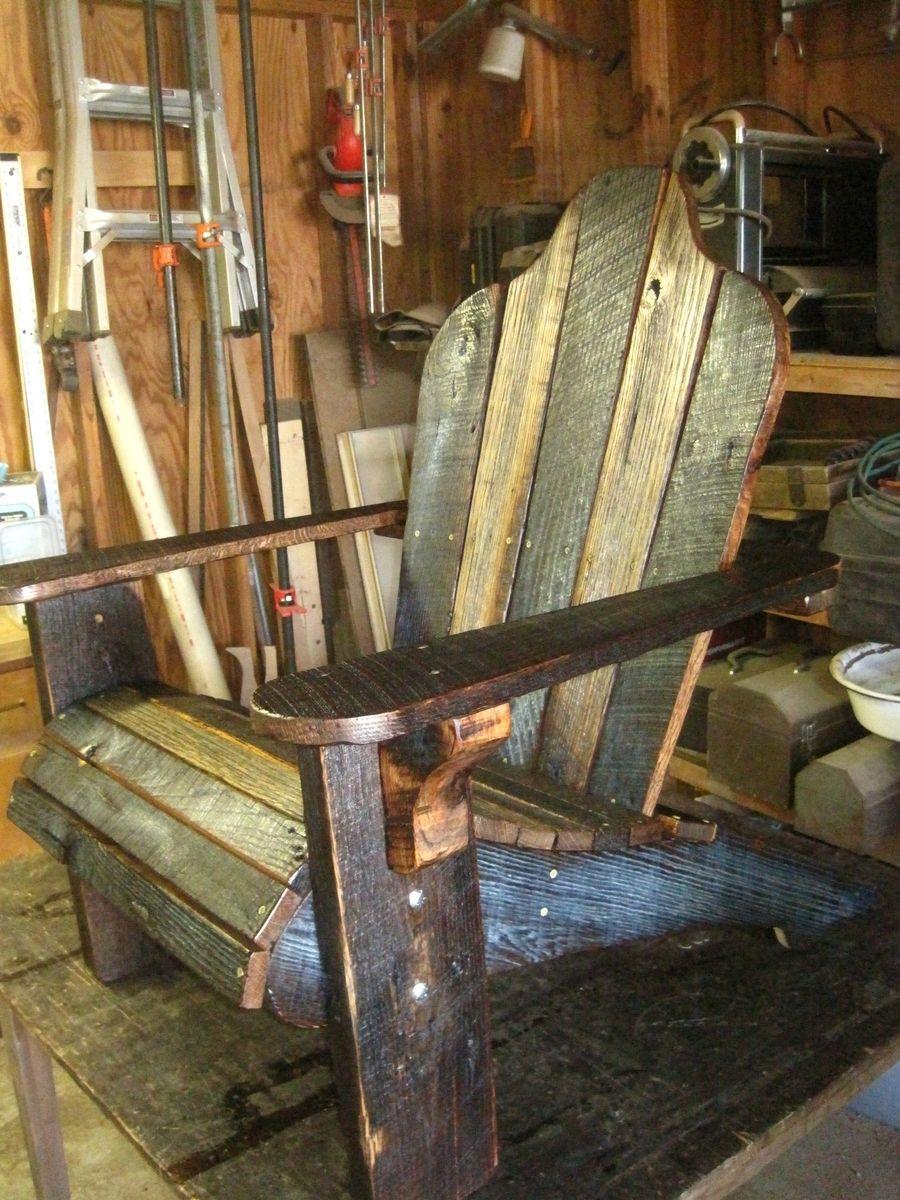Handmade Rustic Barn Wood Adirondack Chairs by Born in a