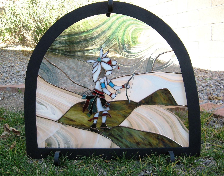 Handmade Stained Glass Kiva Fireplace Screen By Krysia