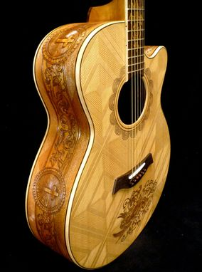 Hand Made Blueberry Christian Motif Acoustic Guitar by Blueberry Musical Instruments Inc
