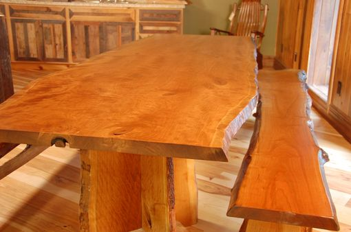 Handmade Cherry Dining Table And Benches With Live Edge By