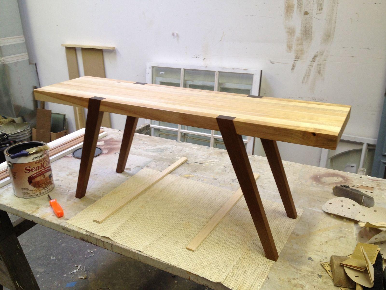 Custom Butcher Block Coffee Table by D Geoffrey Patterson