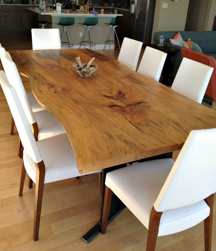 live edge kitchen table slim trash can for hand made bookmatched sycamore dining by donald mee custom