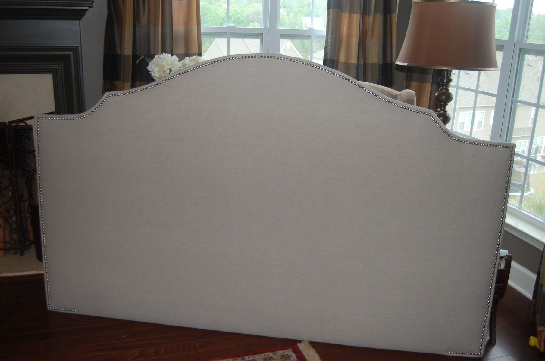 Custom Notched Upholstered Headboard Natural Linen