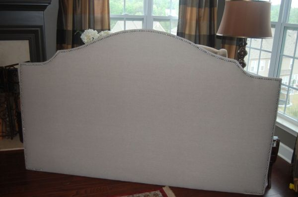 Custom Notched Upholstered Headboard Natural Linen