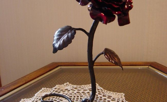 Custom Hand Forged Metal Rose Sculpture By Reflections