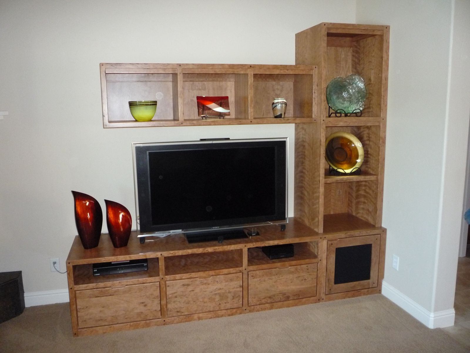 Handmade Custom Cherry Entertainment Center By Natural