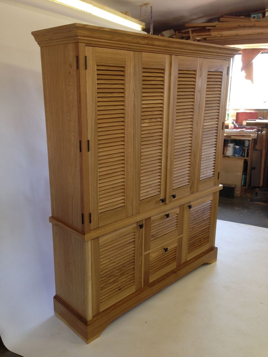 Hand Crafted Media Cabinet With Louver Doors by John Callentine Woodworking  CustomMadecom