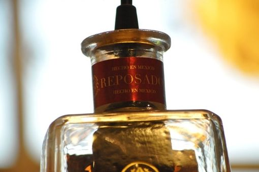 Hand Crafted Recycled Bottle Pendant 1800 Tequila Hanging