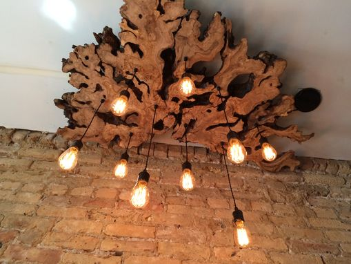 Hand Made Large LiveEdge Olive Wood Chandelier With