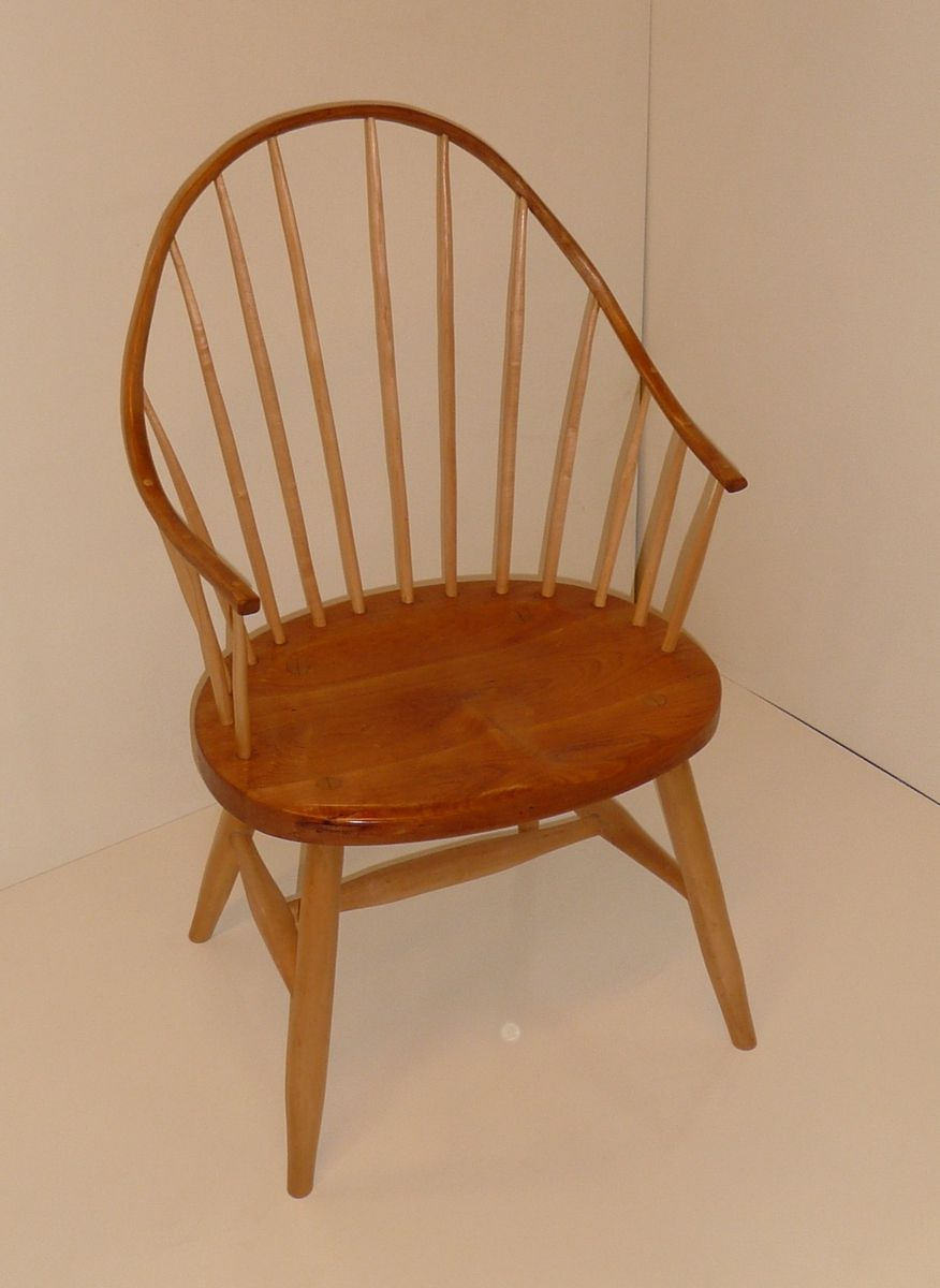 Hand Crafted Cherry And Maple Continuous Arm Windsor Chair