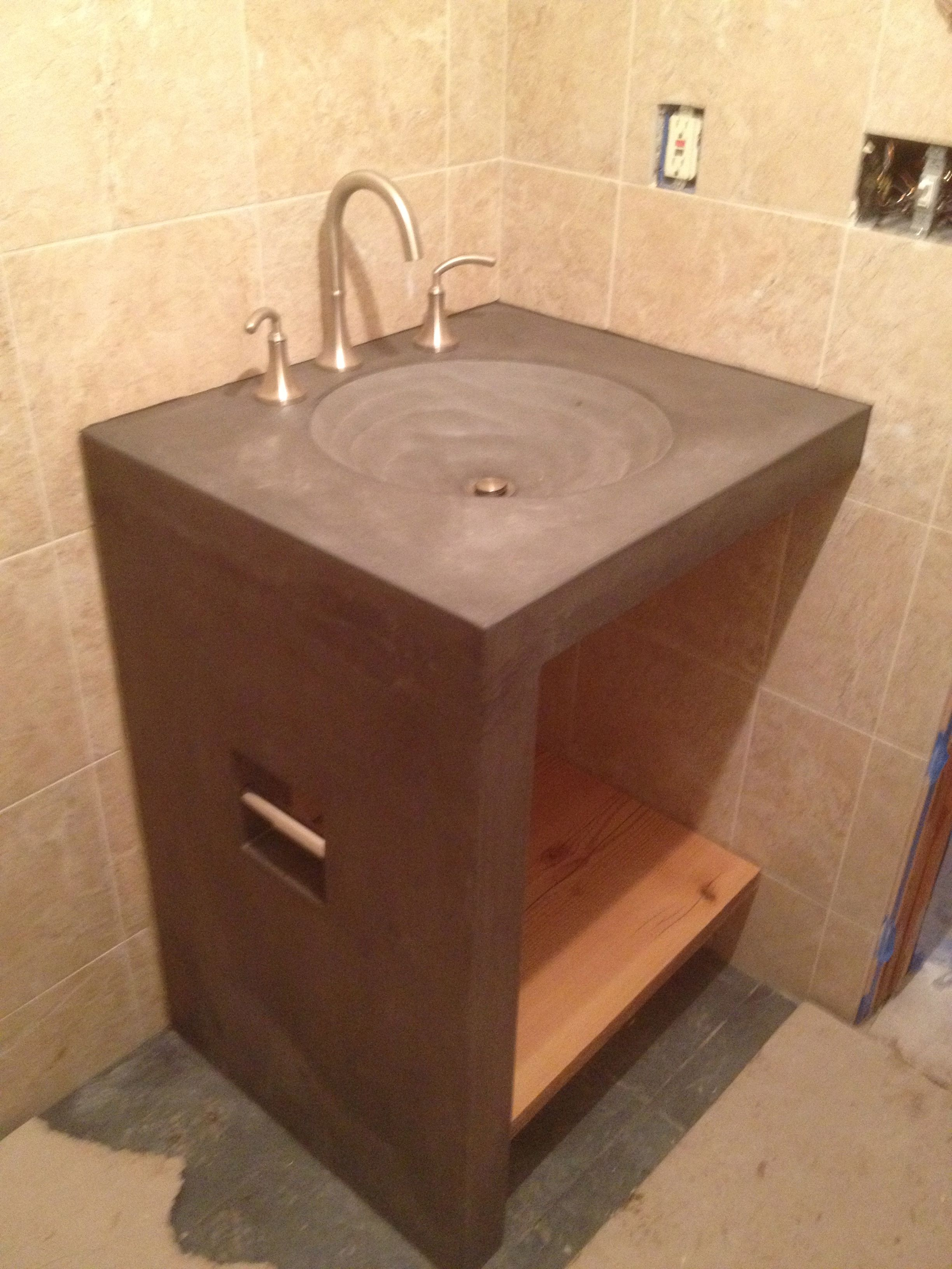 bathroom sink base shower bench with rock and concrete