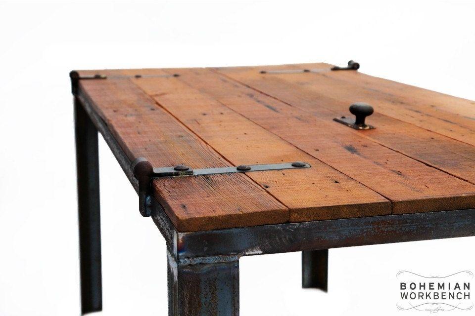 Hand Made Old Barn Door Desk  Table  Reclaimed Materials