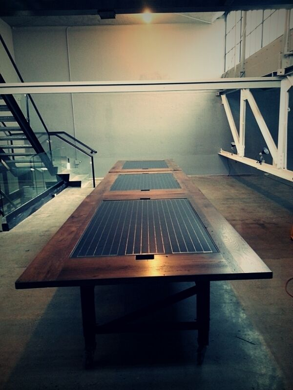 Custom Solar Panel Oak Conference Table by Heritage Wood