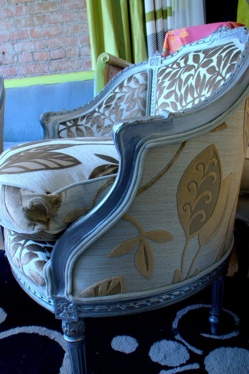 Hand Crafted Upholstered Chair Vintage Chair Hand Painted