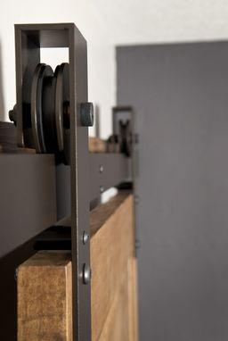 Hand Made Interior Barn Door Hardware Flat Track Installation by Basin Custom  CustomMadecom