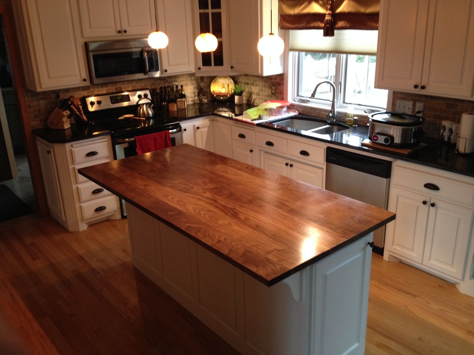Hand Crafted Solid Walnut Kitchen Island Top by Custom