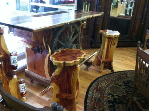 Hand Made Wagon Wheel Bar By Michael James Custom