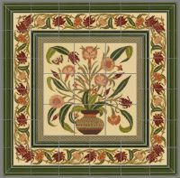 Hand Crafted Custom Ceramic Tile Panel: Persian Floral Pot ...
