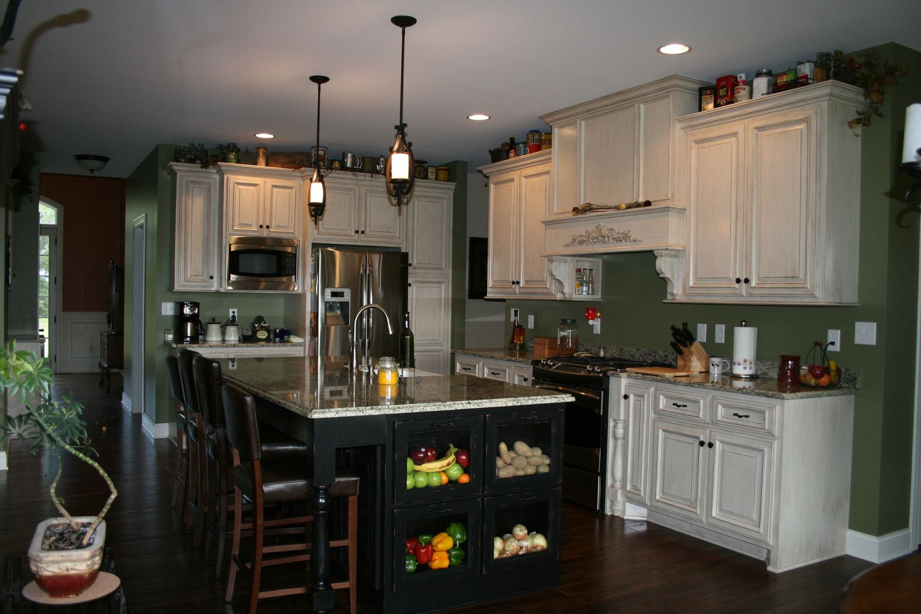 painted kitchen islands tall trash cans hand crafted custom cabinets with stained