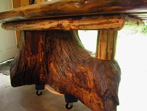 farm style kitchen table polished nickel bridge faucet custom real oak tree trunk dining - one of ...