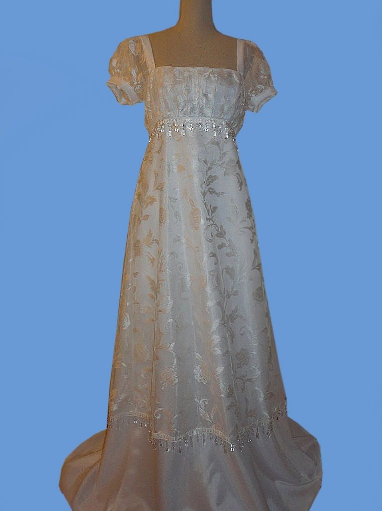 Hand Crafted Early 1800S Regency Bridal Dress Or Reproduction Costume By Tatiana Vintage