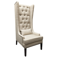 Handmade Attilio Tufted Linen Wingback Chair by Hammers