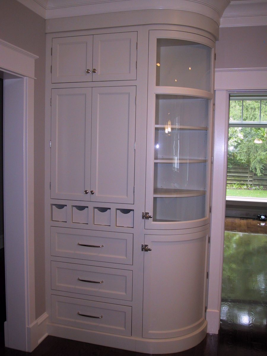 Handmade Curved Glass Cabinet by Woodworking Unlimited Inc