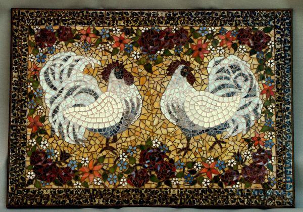 Handmade White Rooster Mosaic Arc Design Ellen