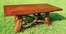 Hand Crafted Rustic Coffee Table With Mountain Laurel Base