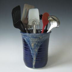 Kitchen Tool Holder Shabby Chic Decor Hand Made Midnight Blue And Tan Utensil By Tulane Custom