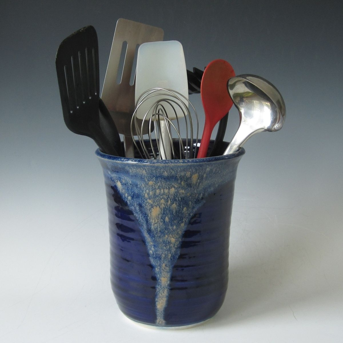 kitchen tool holder eat in tables hand made midnight blue and tan utensil by tulane custom