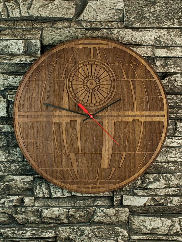 Buy a Hand Made Death Star LaserCut Wooden Clock made to