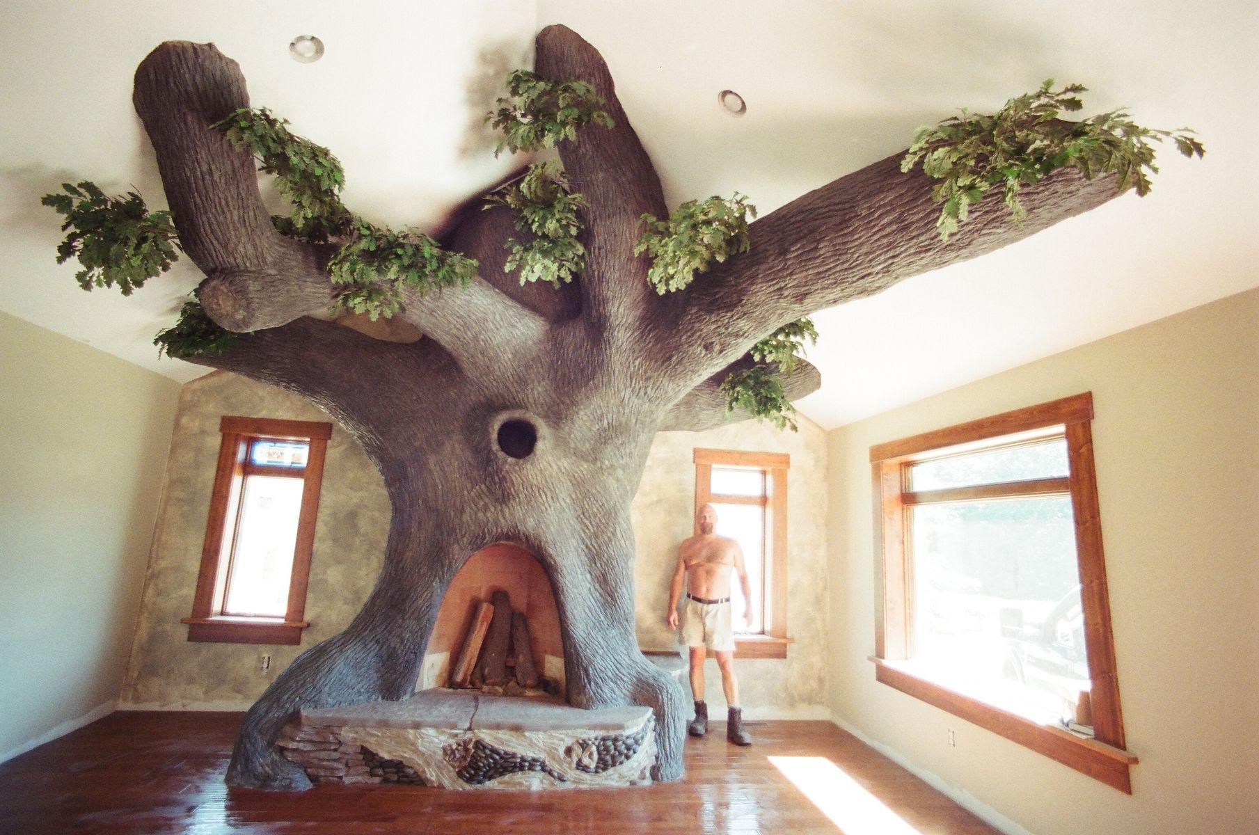 Custom Oak Tree Rumford Fireplace by John Hopson Design