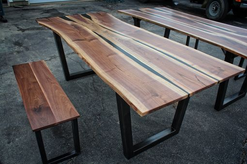 Hand Crafted Black Walnut  Black Resin Dining Table by